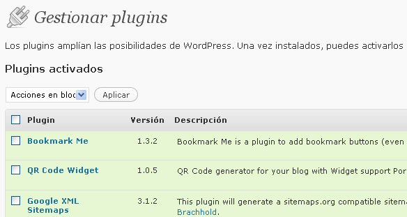 Listado de plugins en WordPress 2.7.1